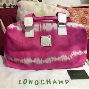 NWT Longchamp Doctor's Bag Pink and White Satchel
